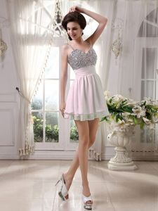Short-Length Spaghetti Straps Baby Pink Graduation Dress with Beading and Belt